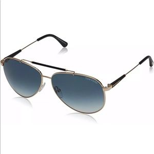 Tom Ford Rick TF 378 28W Aviator Sunglas Gold Blue